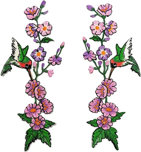 Craft Projects Quilts Bags DIY Iron-On Jackets 11.5 x 12.5 cm Hummingbird Embroidered Patch Sweet