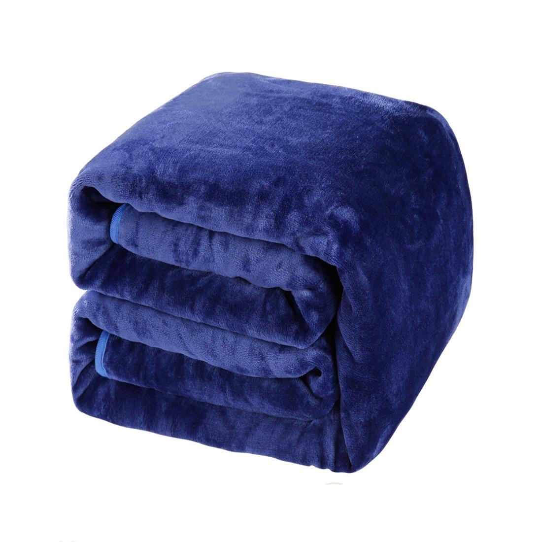 Balichun Luxury 330 GSM Fleece Blanket Super Soft Warm Fuzzy Lightweight Bed or Couch Blanket Twin/Queen/King Size(Travel,Dark Blue)