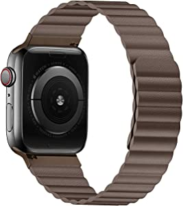 VeryBet Unique Designed Leather Band Compatible for Apple Watch 44mm 42mm, Adjustable Loop Strap with Strong Magnetic Closure for iWatch Series 6-SE-5-4-3-2-1 (Color Brown)
