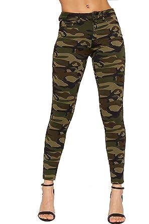 WearAll - Femmes Camouflage Imprimer Étendue Jambières Pantalon Nouveau  Dames Armée Jeggings Fermeture Éclair - Vert - 34  Amazon.fr  Vêtements et  ... dfd920d01780