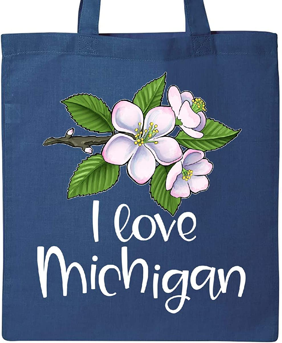 Apple Blossom Flowers Tote Bag Inktastic I Love Michigan