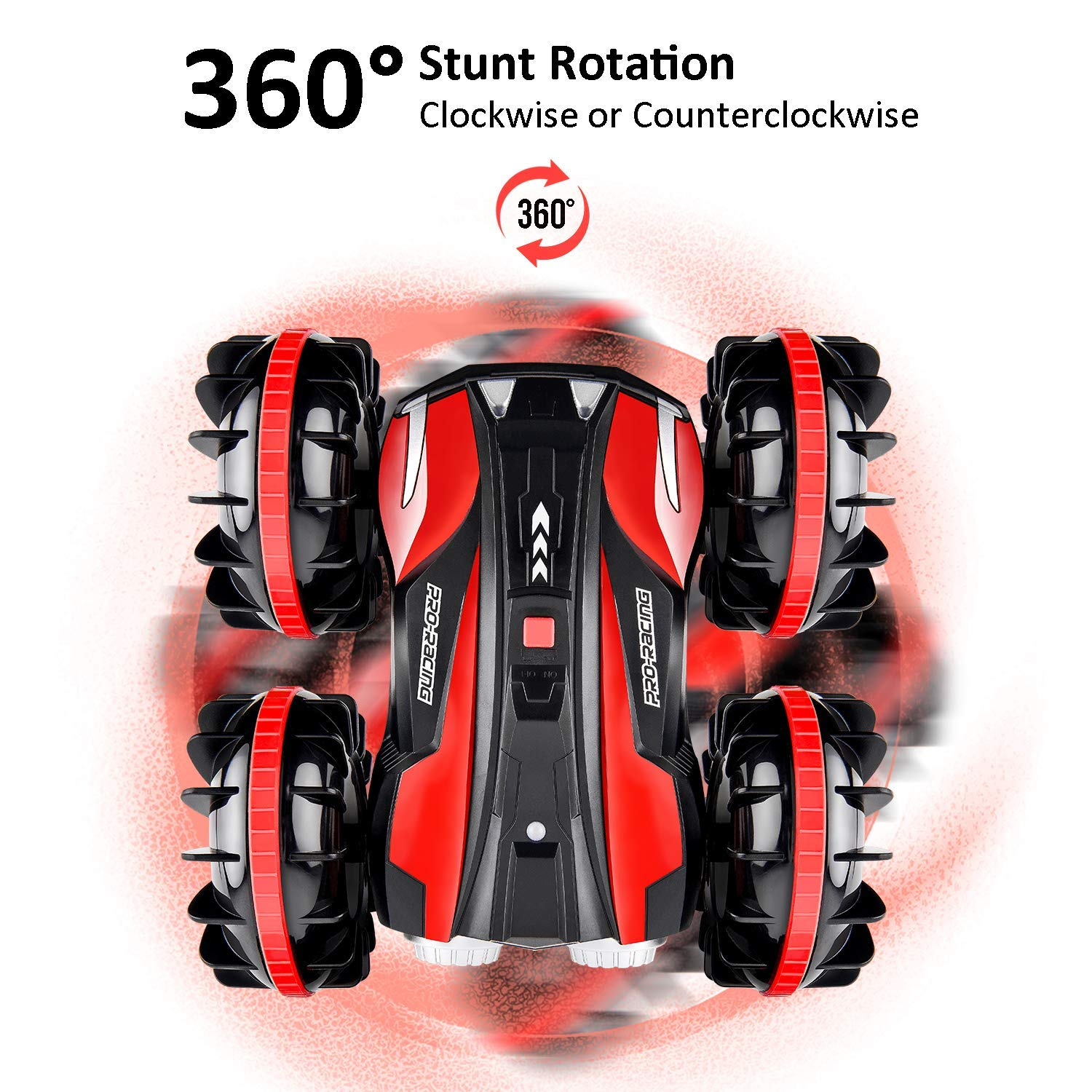 Waterproof RC Cars for Kids Remote Control Car Boat RC Truck Amphibious Stunt Car 4WD Off Road 2.4GHz Radio Controlled Vehicle 360 Degree Rotates Toys for 7-16 Year Old Boys Girls Birthday Gift Red by ROOYA BABY (Image #2)