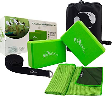 Amazon Com Hoogagoods Be Alive Yoga Combo Accessories Includes Yoga Blocks Yoga Straps And Cooling Towel Green And Black Set Of 2 Green Yoga Blocks 1 Black Yoga Straps 1 Green Cooling Towel