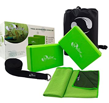 HoogaGoods Be Alive Yoga Combo Accessories includes Yoga Blocks Yoga Straps and Cooling Towel...