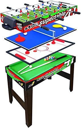 Sport One - Mesa Multijuego Mini Supertable – 4 Juegos en 1 – Futbolín 3 Vs 3 Barras entrantes/Ping Pong/Mesa de Billar & Speed Hockey – cm. 97,5 x 48 x 69 - Novita: Amazon.es: Deportes y aire libre