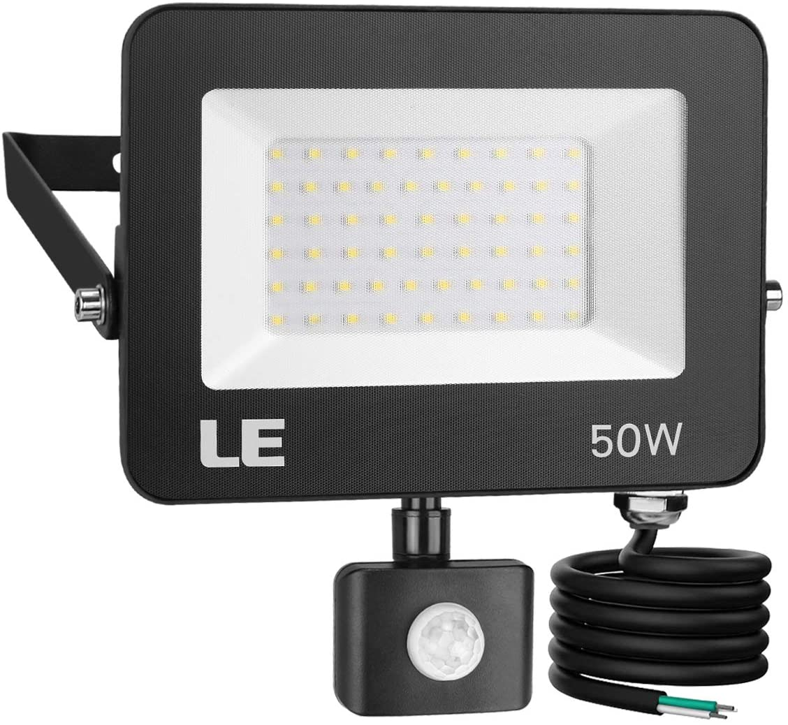 LE 50W Outdoor LED Flood Light with Motion Sensor, Waterproof Floodlight, 5000 Lumen, 5000K Daylight White, 350W HPS Equivalent, for Yard, Garden, Backyard, Porch Stair