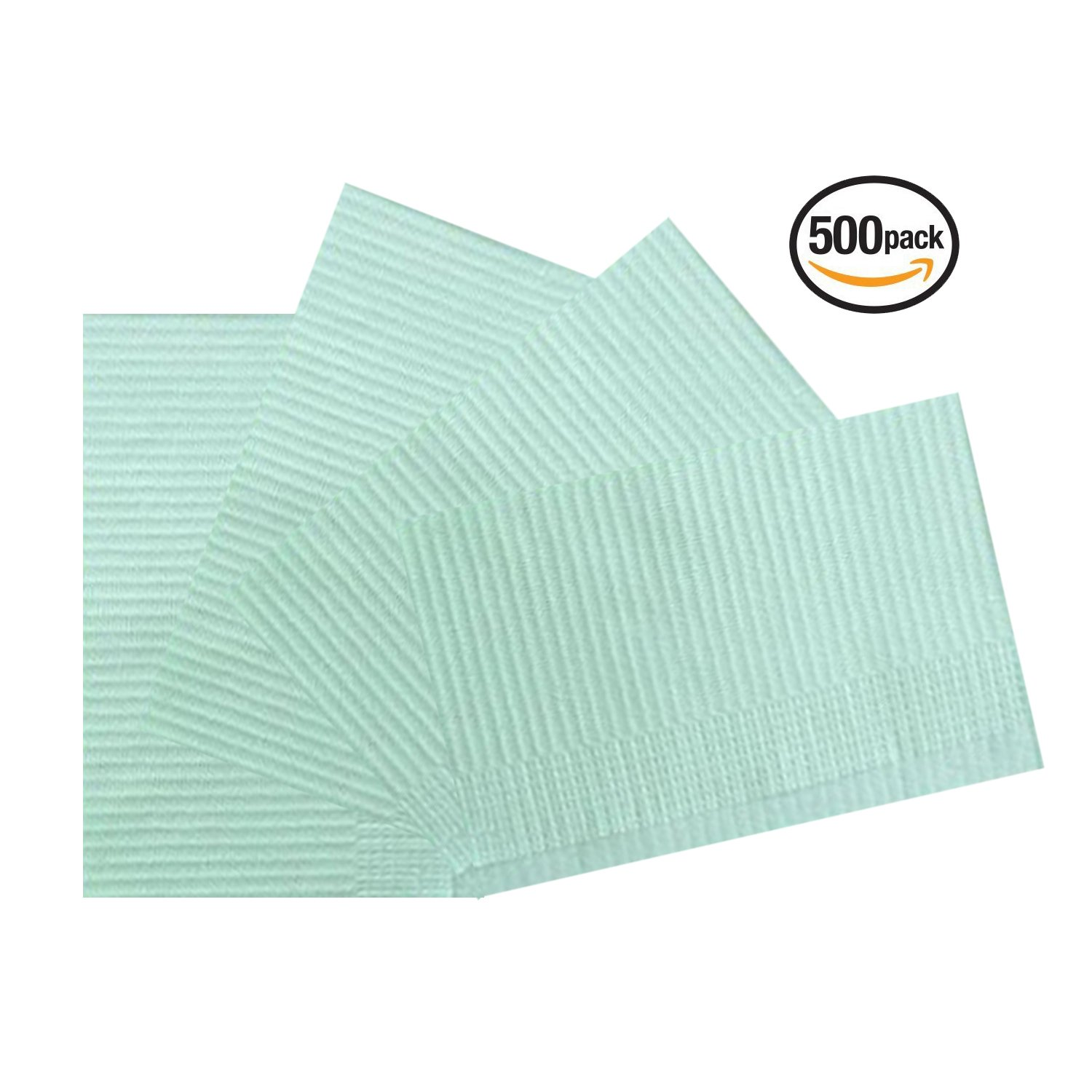 Vivid OnceBib Disposable, Patient Bib, 2 Ply paper and 1 Poly Backing, 13''x18'', Set of 500 (Green)