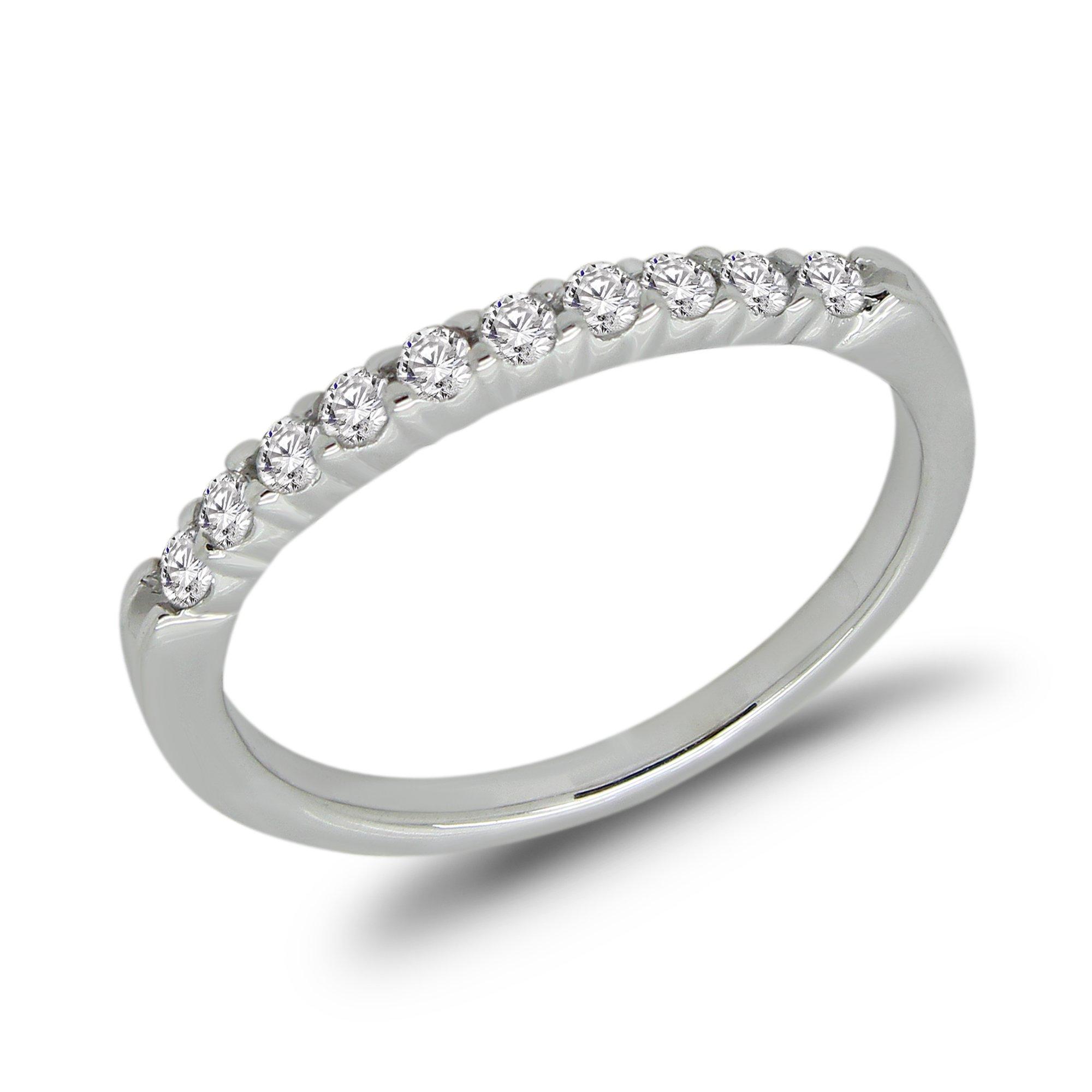 0.25 Ct Round Cut Natural Diamond 14K White Gold Wedding Band Ring Size - 7