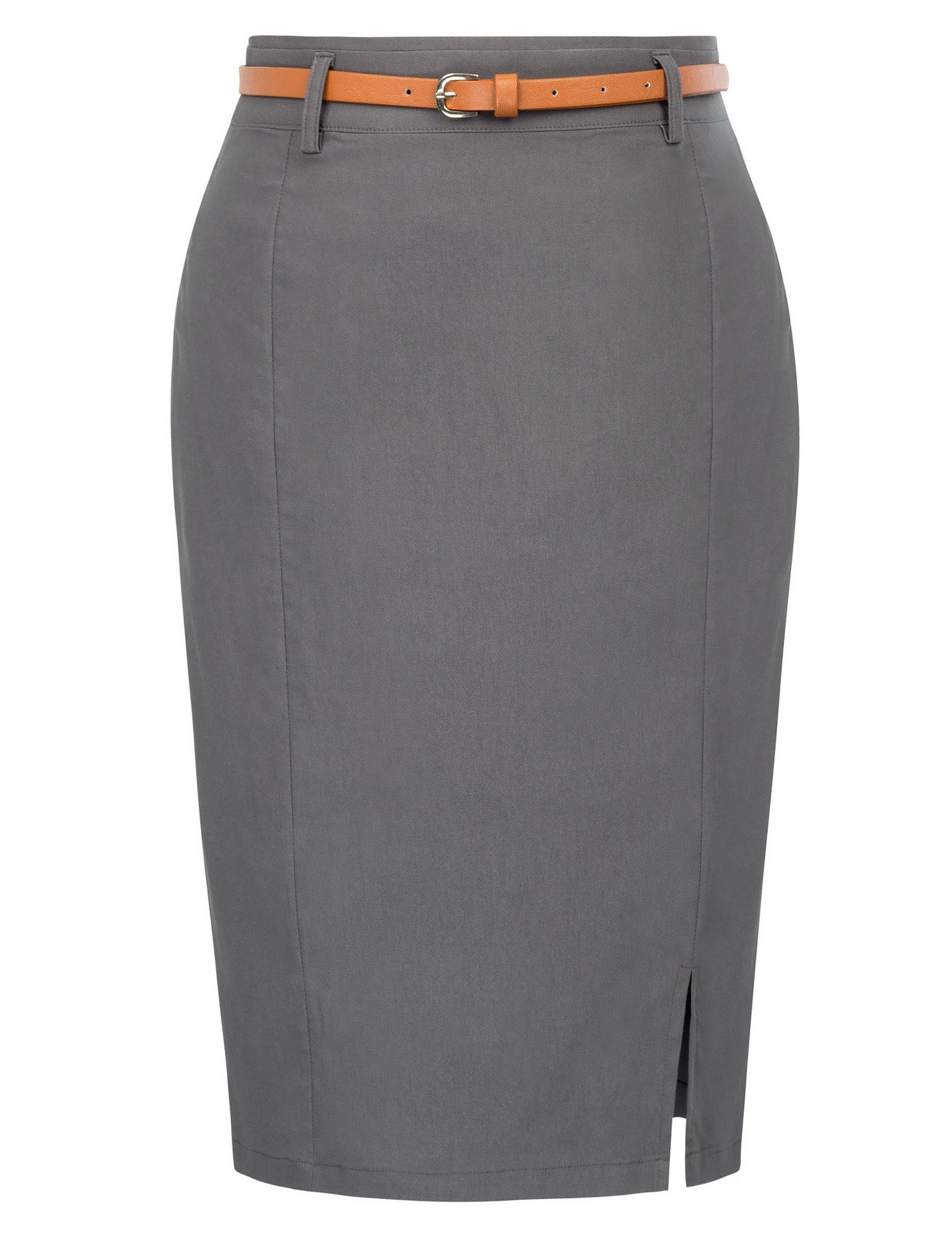 Women's Split Design Business Office Bodycon Pencil Size L Dark Grey KK856-2