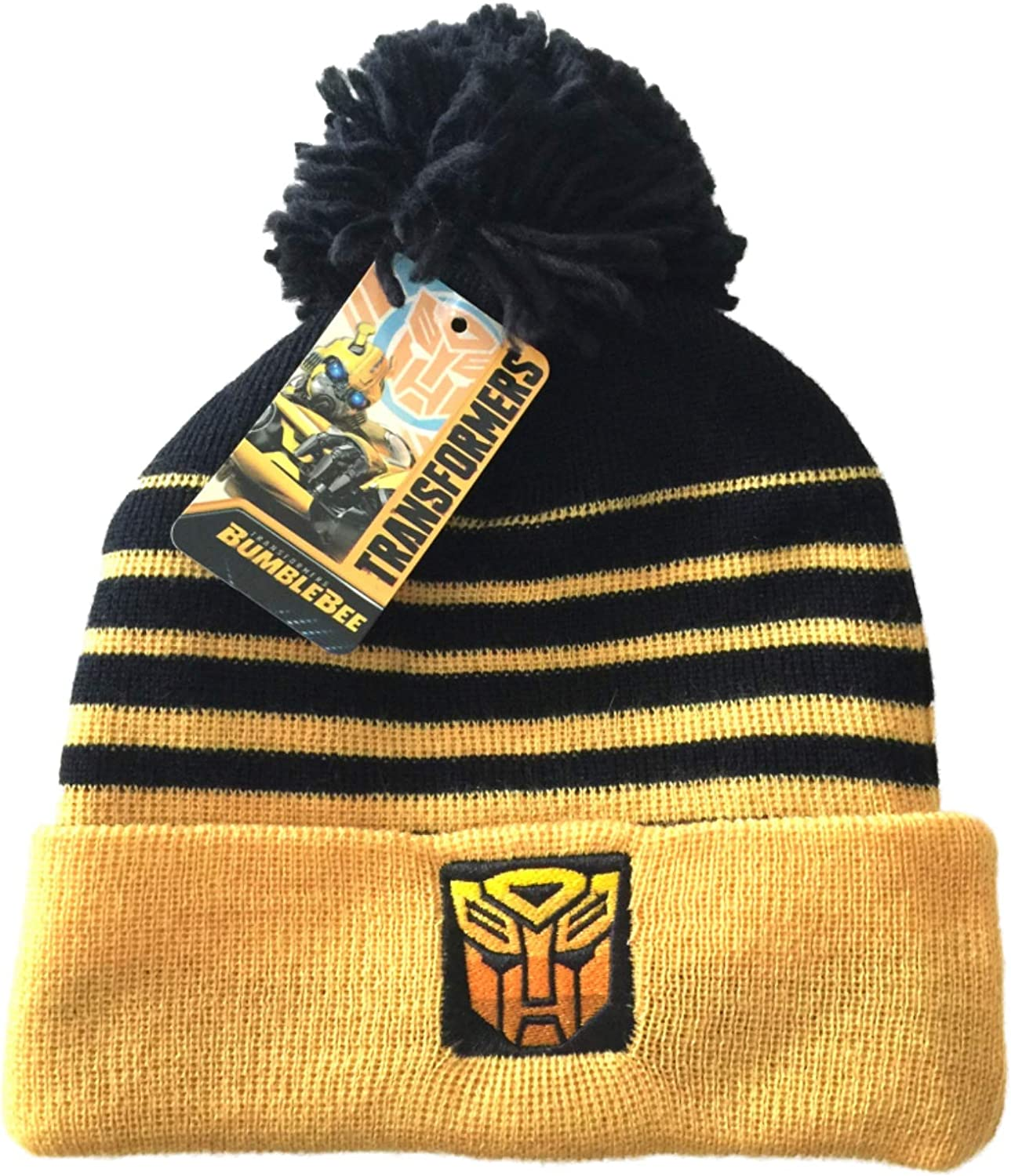 Transform Boys Black /& Yellow Bumble Bee Transformers Beanie Hat Ages 4-12