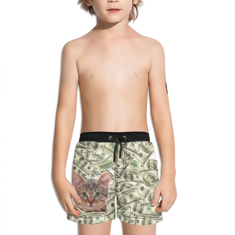 Trum Namii Boys Quick Dry Swim Trunks Cat in The Cash Shorts