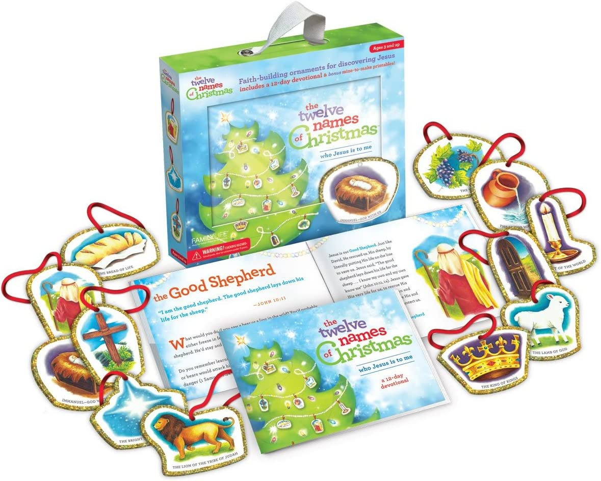 Family Life The Twelve Names of Christmas - Children's Christian Advent Activity and Kid's Advent Calendar Alternative with Ornaments
