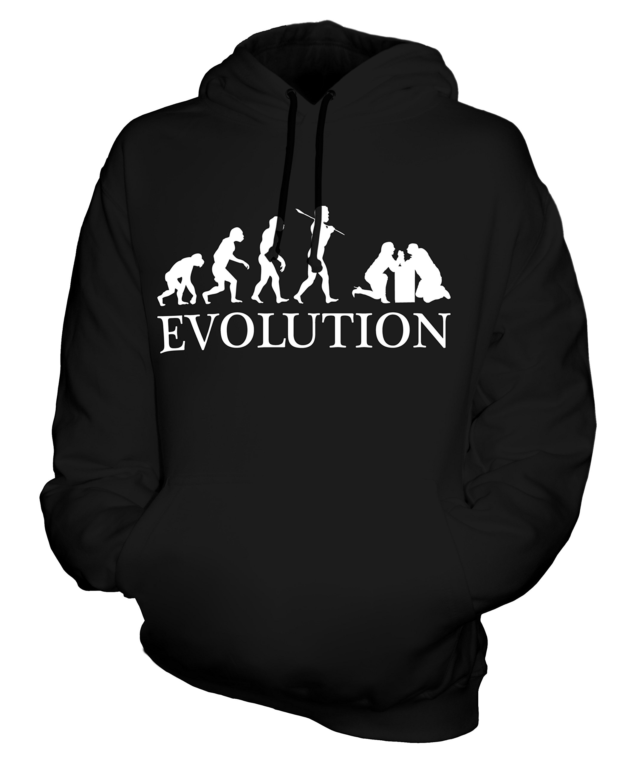 CandyMix Unisex Arm Wrestling Evolution of Man Mens/Womens Hoodie, Size Small, Color Black by CandyMix