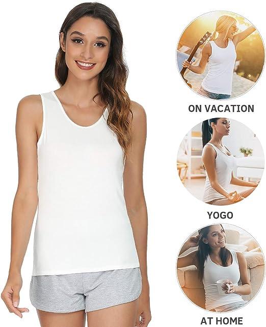 Wasnv Femmes Plain Stretch Sangle Réglable normal Vest Tank Top