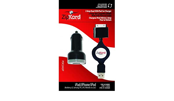 Amazon.com: CARGADOR con CABLE RETRACTIL de COCHE para iPod / iPhone / iPad, con DOBLE ENTRADA de USB, MARCA ZIPKORD, MODELO PDC2A2IP: Health & Personal ...