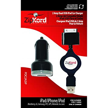 Amazon.com: CARGADOR con CABLE RETRACTIL de COCHE para iPod ...