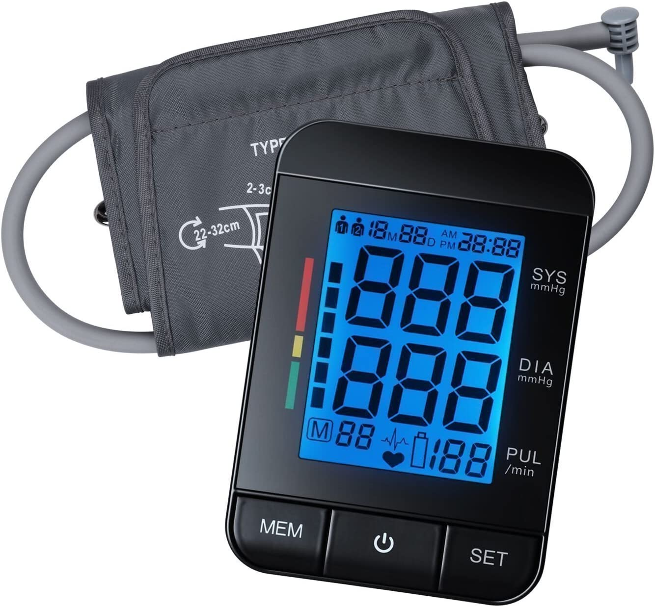 Arm Blood Pressure Monitor, AlphaMed Digital Automatic Blood Pressure Cuff with Large Cuff, Backlit LCD Screen and Memory Storage