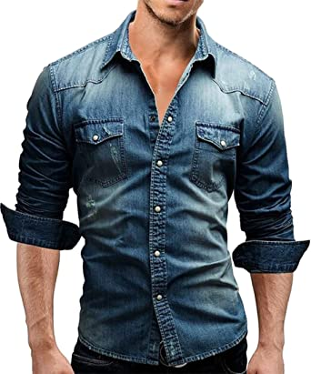 UUYUK Men Slim-Fit Denim Long-Sleeve Button Down Shirt