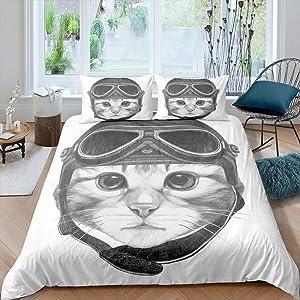 Loussiesd Cat Duvet Cover Sketch Cat with Helmet Bedding Set Cartoon Animal Hypoallergenic Comforter Cover for Kids Boys Girls Teens (1 Duvet Cover 1 Pillow Case),Twin Size