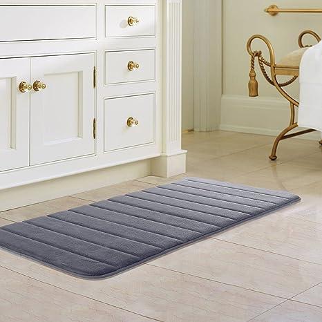 47 X 24 Inch Gray Memory Foam Bath Mat Absorbent Carpet Runner Extra Long  Bathroom Rug