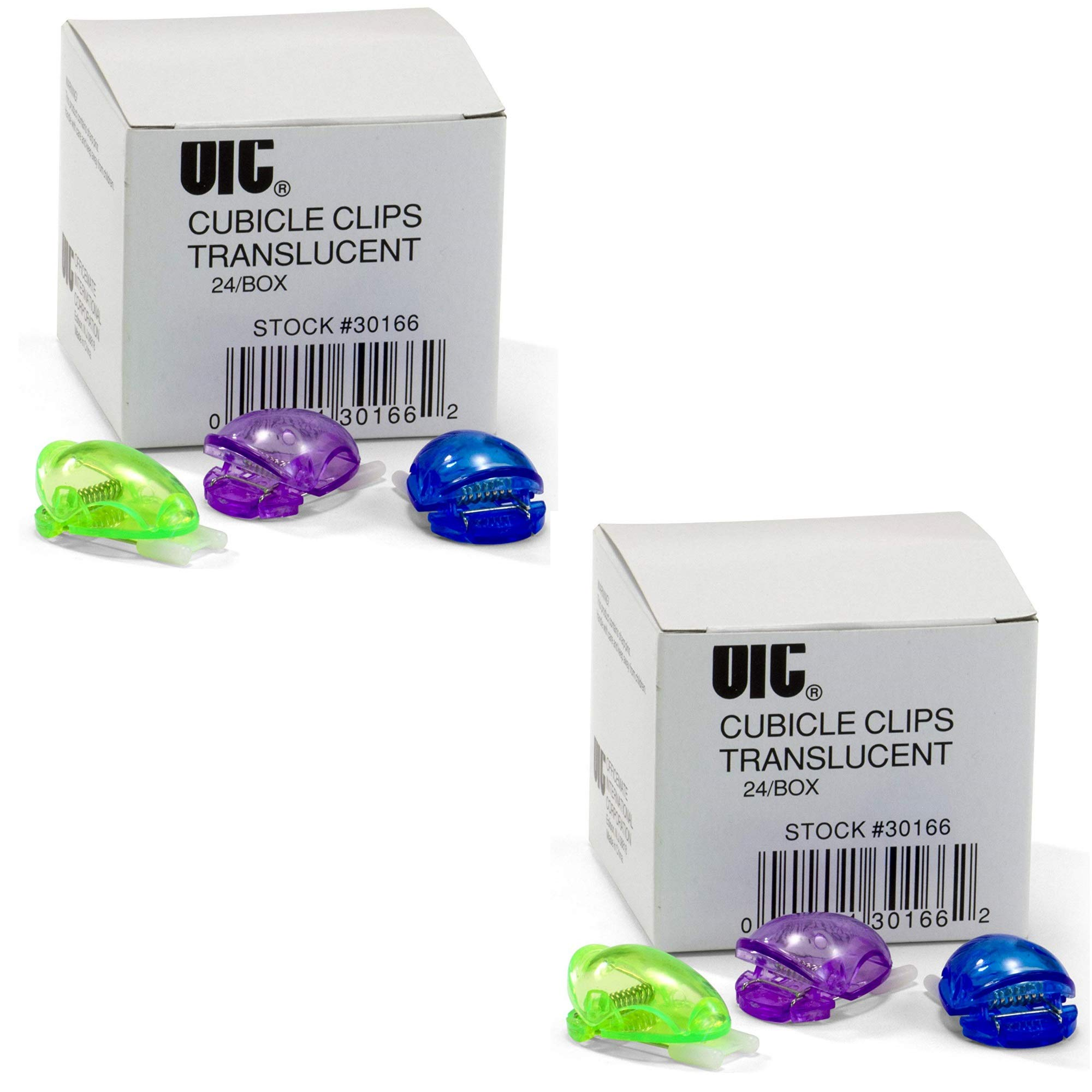 Officemate Standard Cubicle Clips, Assorted Translucent Colors, 24/Box (30166), 2 Pack
