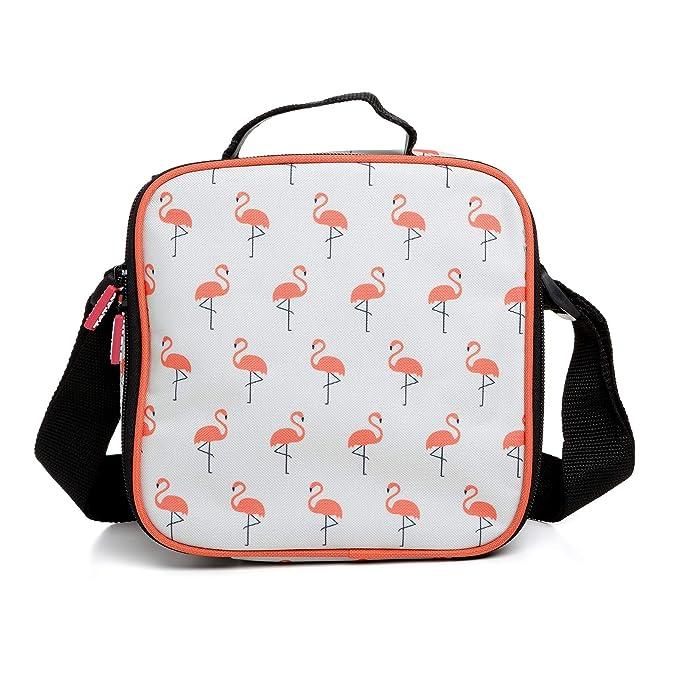 PracticFood Kit Urban Food con Cubiertos en Acero Inoxidable 18/0 Niquel Free - Bolsa Térmica Porta Alimentos con 4 Tapers Herméticos. Flamingo
