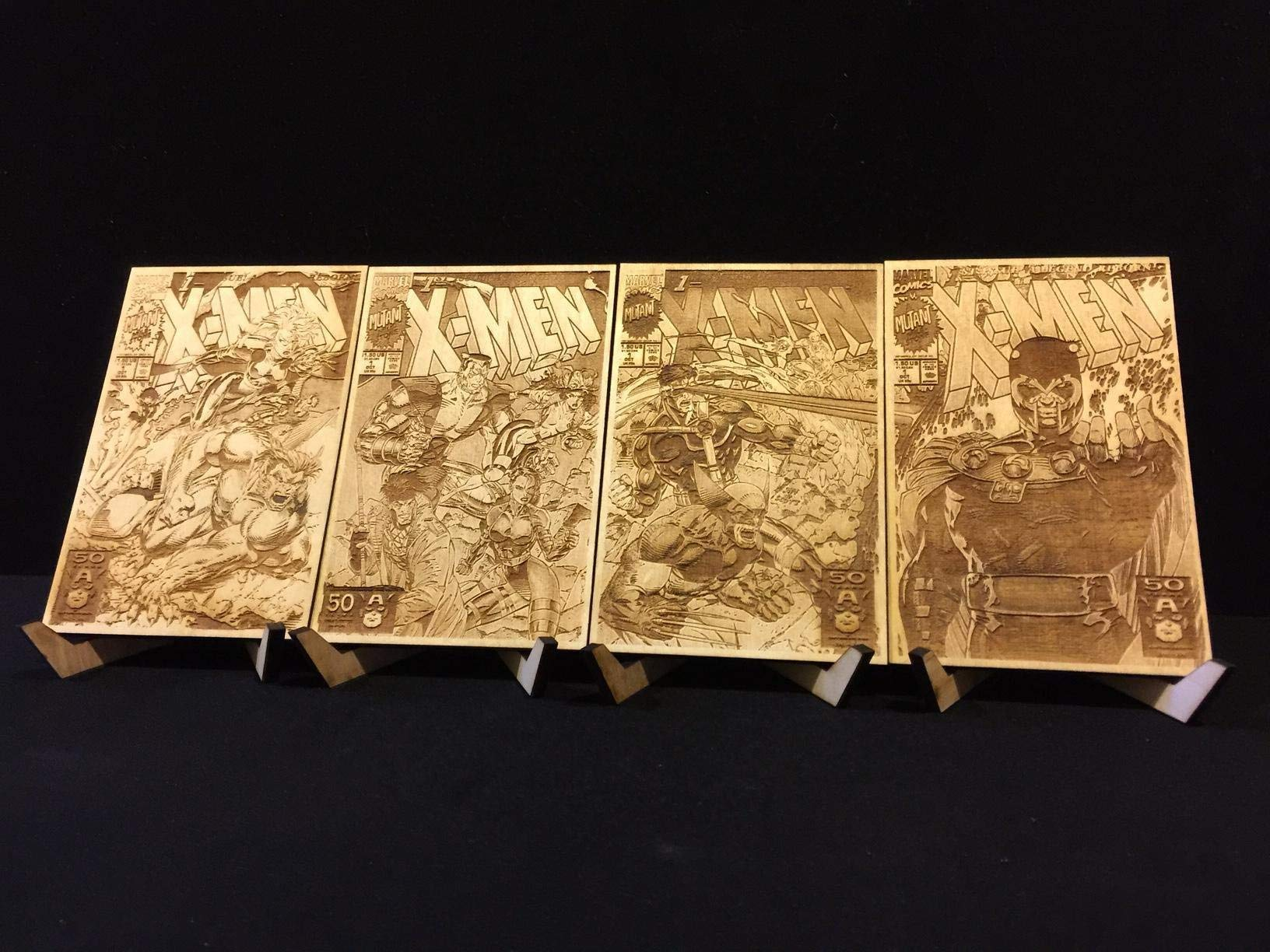 X-Men #1 All Four Jim Lee Covers Laser Etched Wood Covers on Baltic Birch