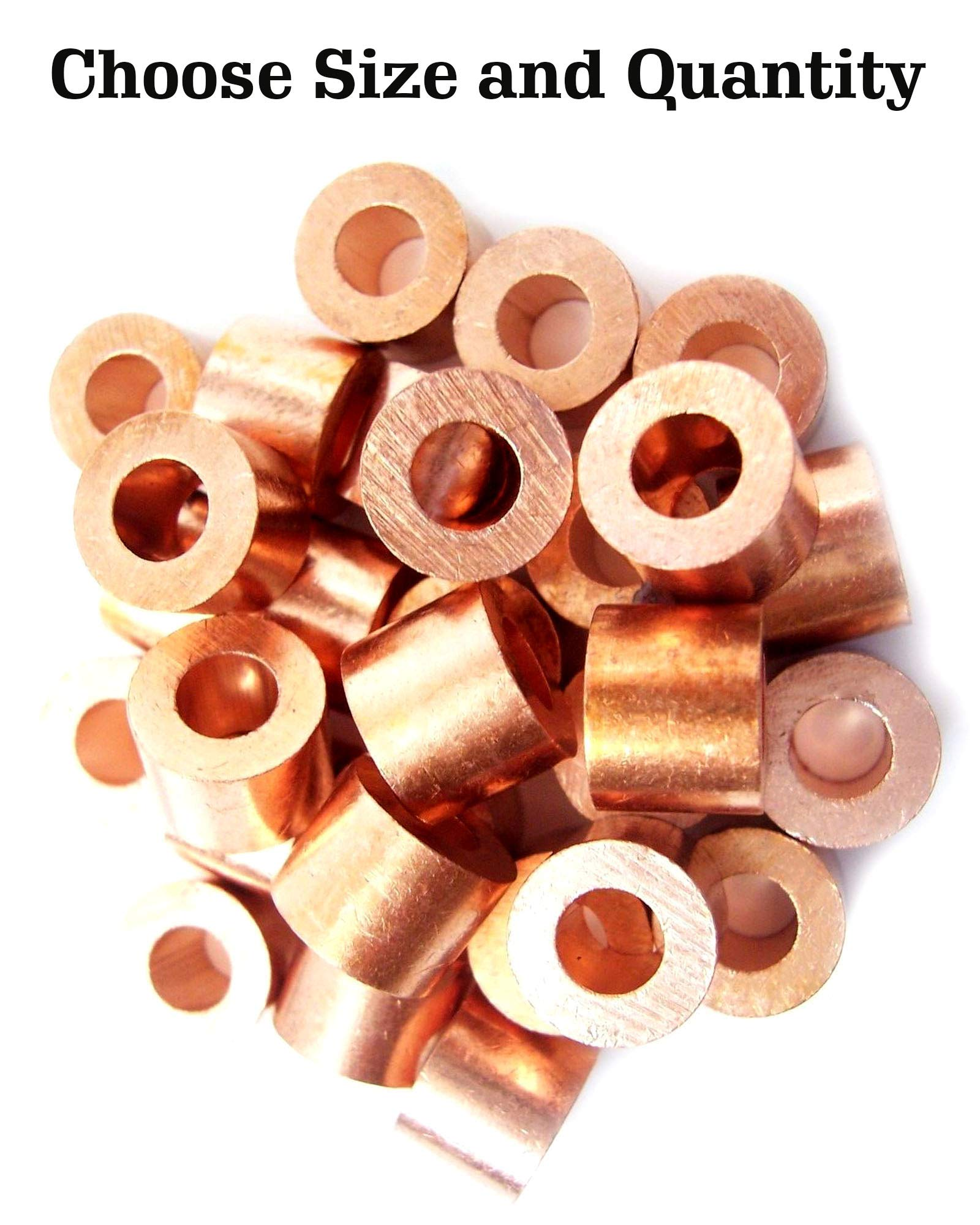 Copper Swage Stop for 1/8'' Wire Rope Cable - Copper Cable Stop Sleeve for 1/8 Inch Wire Rope Swage Clip Copper Cable Crimp Sleeves Cable Stops 1/8'' Copper Swage Sleeves