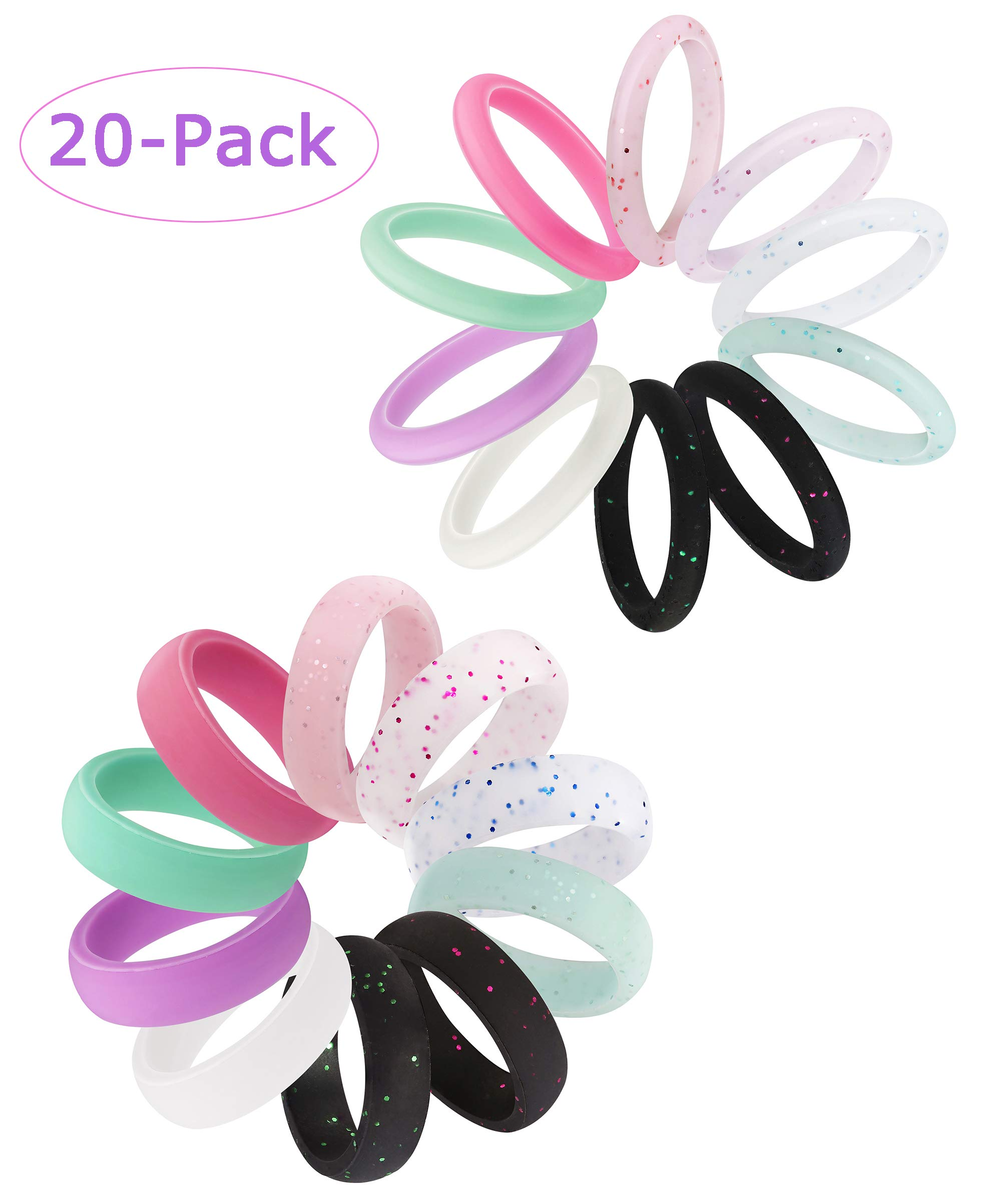Jstyle 20Pcs Silicone Wedding Ring Women Mens Wedding Bands Thin Stackable Durable Comfortable Antibacterial Soft Rubber Rings Sport Ring Size 6