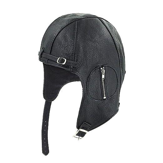 388fd1d7c56 LETHMIK Aviator Pilot Trapper Hat Classic Vintage Cowhide Hunting  Motorcycle Hat Black-M