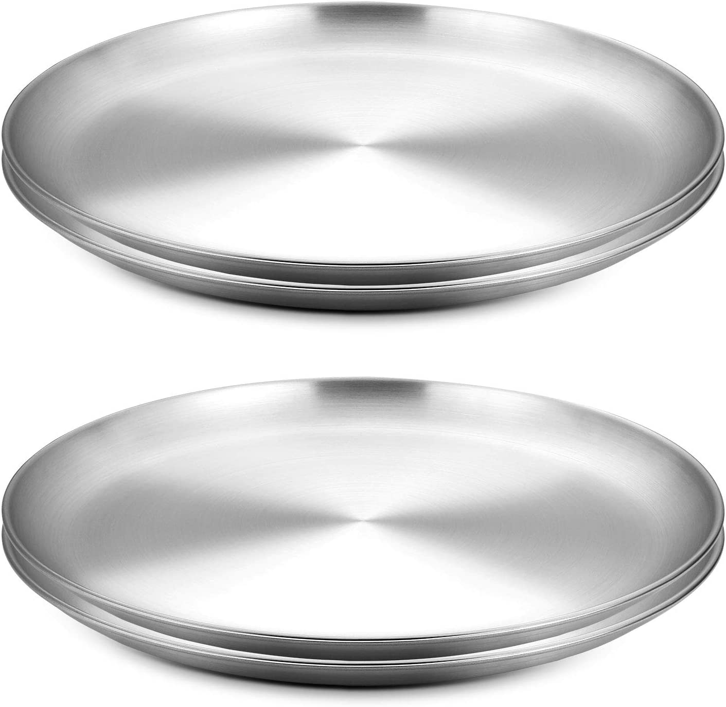 WEZVIX 8-Inch Round Pizza Pan Stainless Steel Pizza Tray for Oven Baking, Pizza Crisper Pan for Home Kitchen, Restaurant, Non-stick & Dishwasher Safe & Heavy Duty - 4 Pack