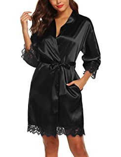 URRU Womens Satin Silk Bathrobe Oblique V-Neck Short Kimono Robe Bridesmaids Robe S-