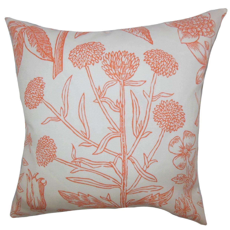 The Pillow Collection Neola Floral Bedding Sham Orange Queen//20 x 30