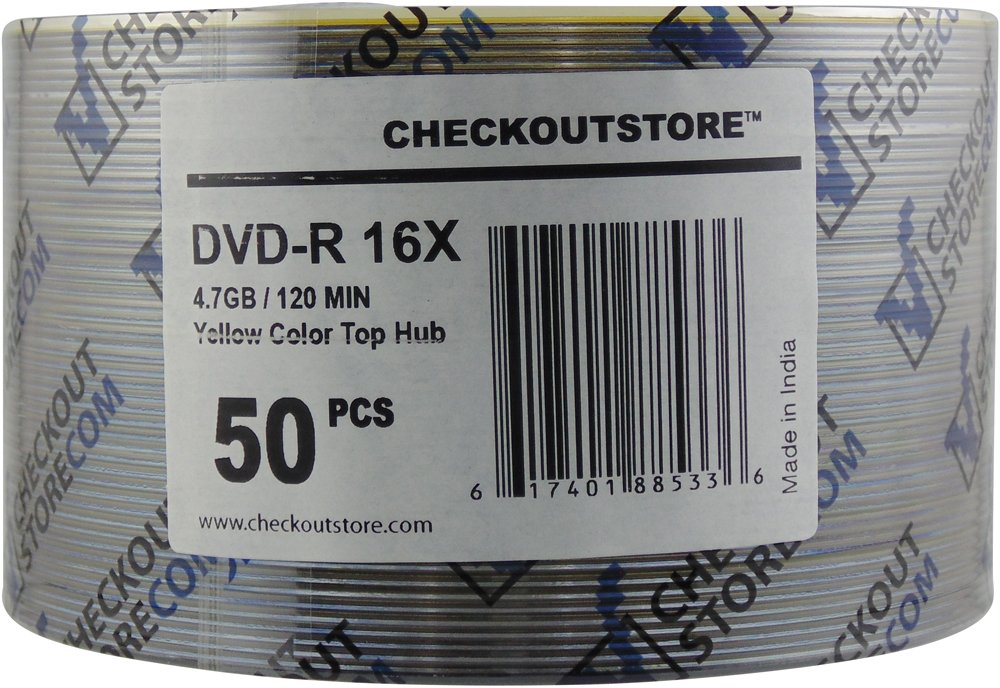 CheckOutStore 100 16X DVD-R 4.7GB Yellow Top by CheckOutStore