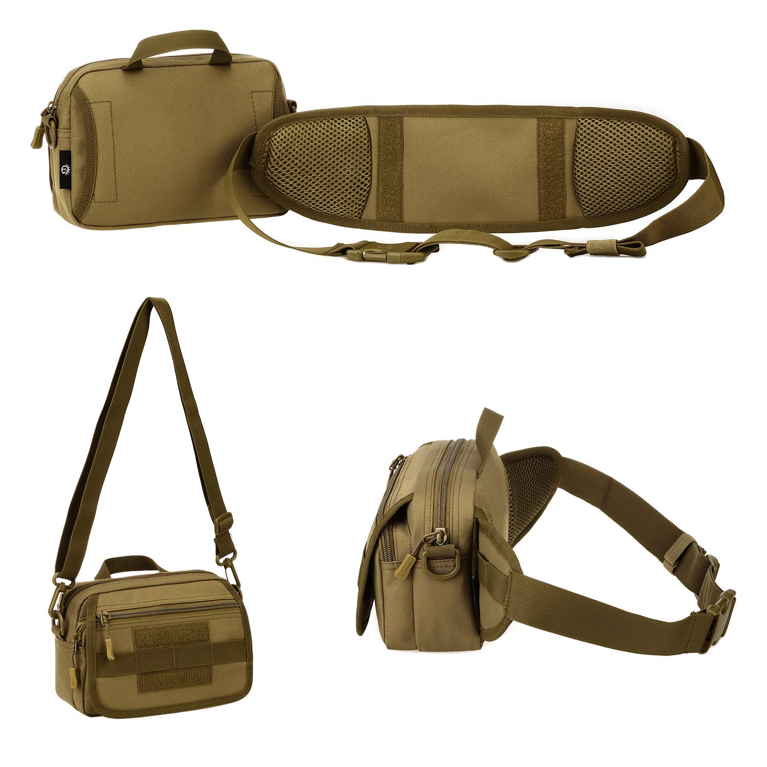 PlasMaller Outdoor Fanny Pack Tactical Waist Pack Single Shoulder Bag Multiple Combinations MOLLE Bag Detachable Belt for Traveling Running Hiking Cycling Coyote Brown