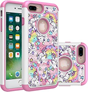 iPhone 7 Plus Case, iPhone 8 Plus Bling Case, Rainbow Unicorn Design Heavy Duty Shockproof Studded Rhinestone Crystal Bling Hybrid Case Silicone Protective Armor for Apple iPhone 7 Plus iPhone 8 Plus