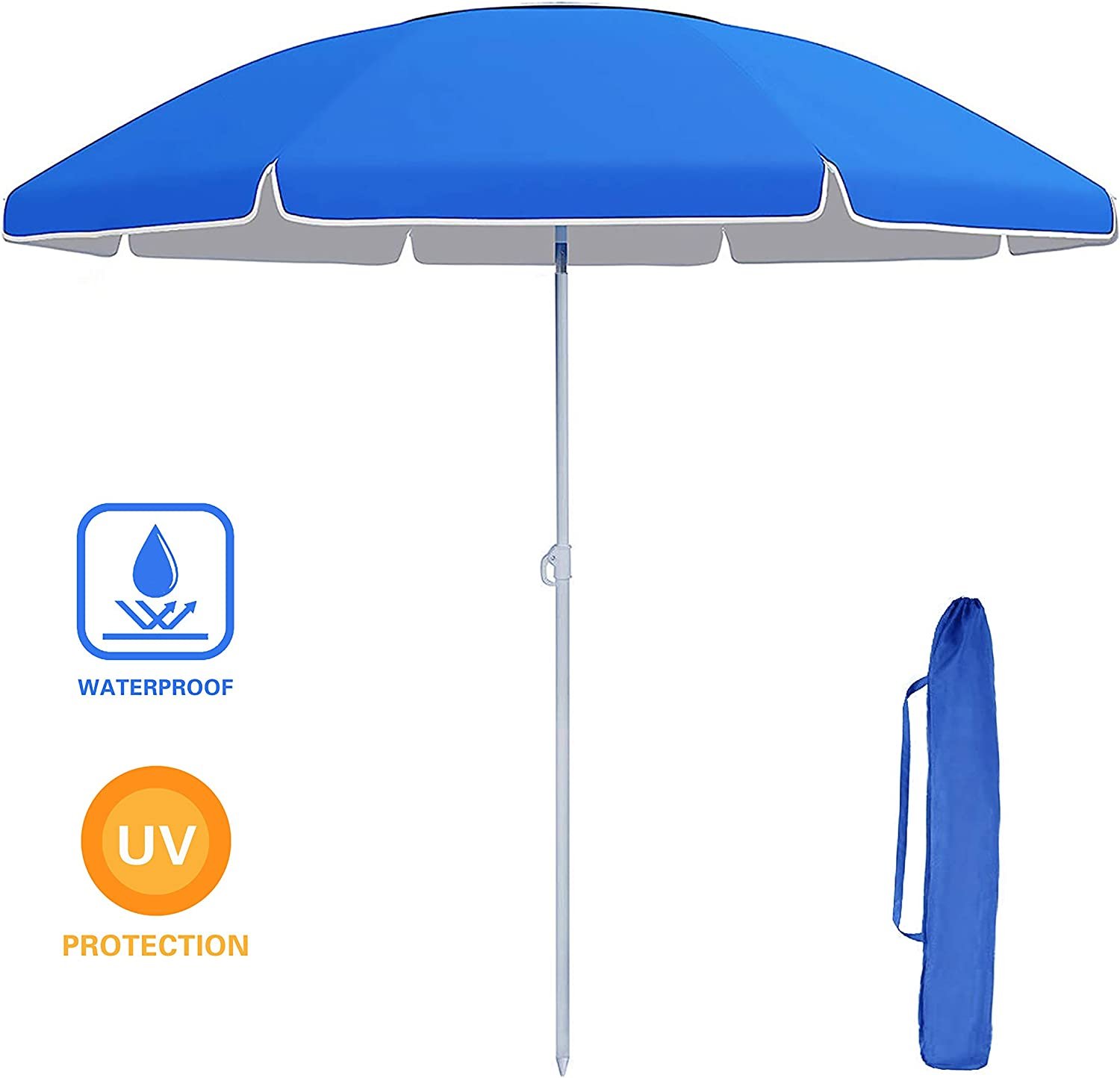 VEIKOU Fiberglass Beach Umbrella, Folded Patio Beach Umbrella, Sun Shade with Tilt Mechanism, Carry Bag – for Beach, Gardens, Balcony and Patio Blue