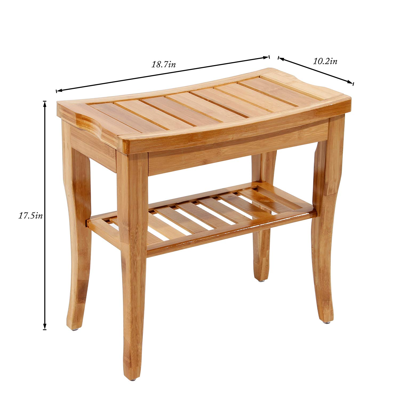 Soges Bamboo Shower Bench Wood Bath Organizer Seat Waterproof Shower Stool with Storage Shelf KS-HSJ-04