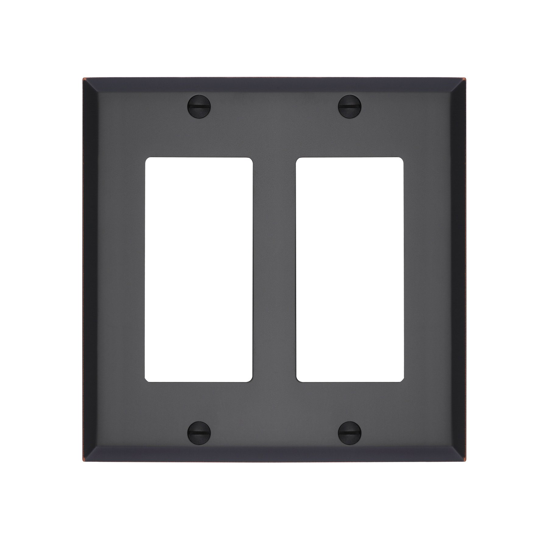 MAYKKE Graham Double Rocker Light Switch Cover | Premium 2 Gang Solid Brass Wall Plate | 5 Color Finishes to Choose From | Oil-Rubbed Bronze, ALA1020204