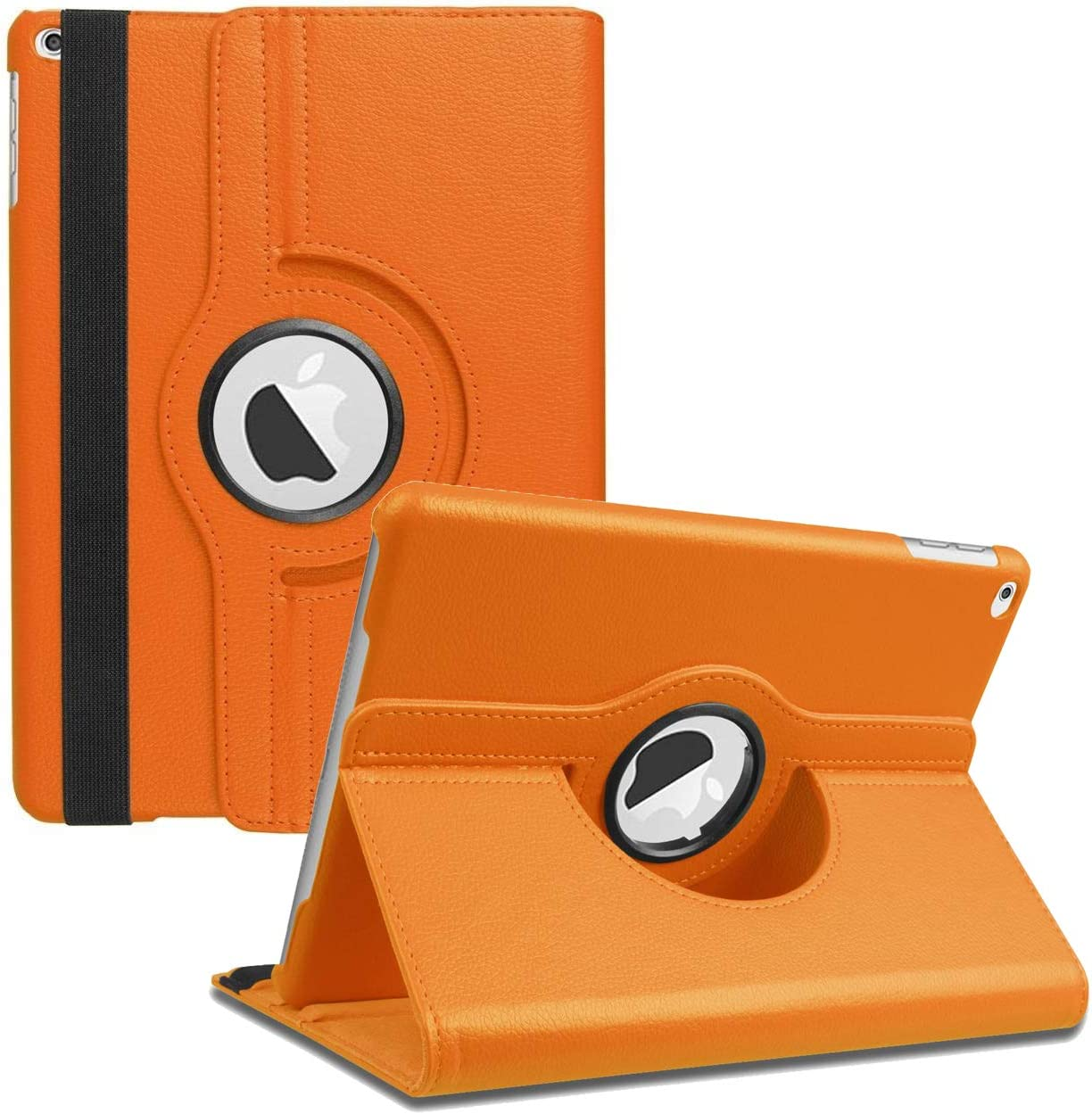 "New iPad 2017 9.7"" / iPad Air 2 Leather Case,360 Degree Rotating Stand Smart Cover with Auto Sleep Wake for Apple iPad Air or New iPad 9.7 Inch 2017 Tablet (Orange)"