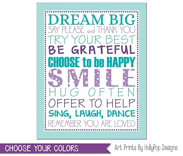 Tween Girl Bedroom Art, Purple Aqua Bedroom Decor, Girl Typography Print,  Positive Quotes