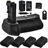 Battery Grip Bundle F/Canon EOS 6D Mark II: Includes BG-E21 Replacement Grip, 4-Pk LP-E6 / LP-E6N Long-Life Batteries, Charge