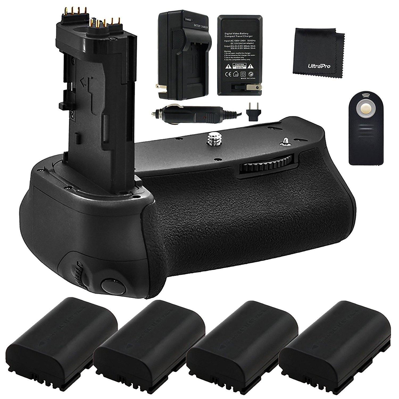 Battery Grip Bundle F/Canon EOS 6D Mark II: Includes BG-E21 Replacement Grip, 4-Pk LP-E6 / LP-E6N Long-Life Batteries, Charger, UltraPro Accessory Bundle