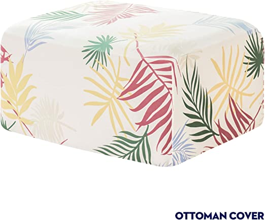 Subrtex Printed Stretch Ottoman Protector Removable Rectangular Footstool Cover