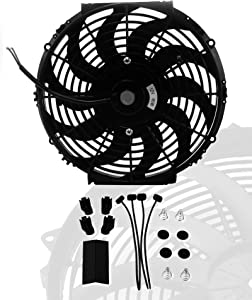 "16"" inch Universal Slim Fan Push Pull Electric Radiator Cooling 12V Mount Kit"