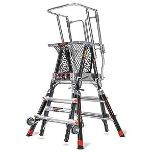 Little Giant, 18503-240, Adj. Cage Platform Ladder, 5 Ft, Fbrglss