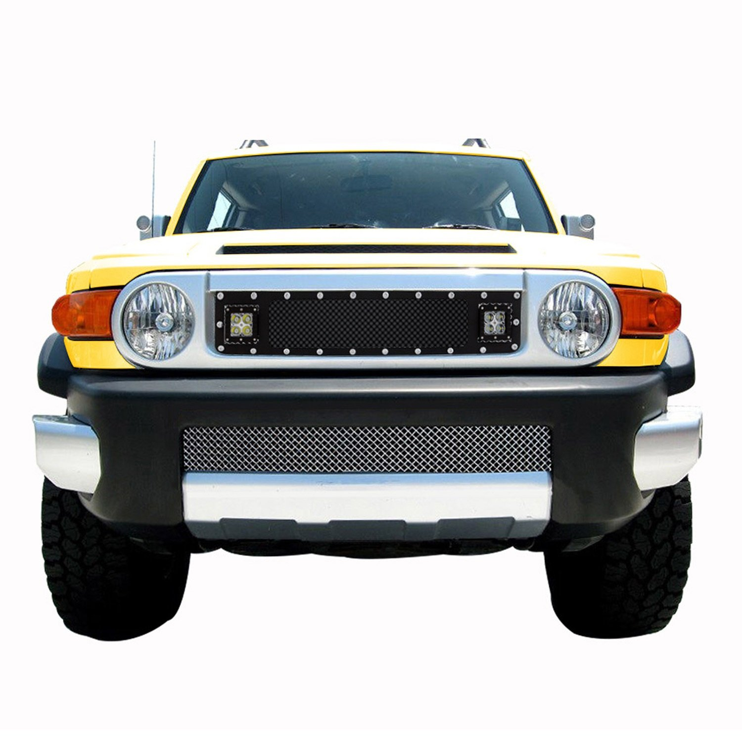 Paramount Restyling 48-0969 Black 07-14 Toyota FJ Cruiser Evolution Stainless Steel Wire Mesh Cutout Grille with LED-1pc