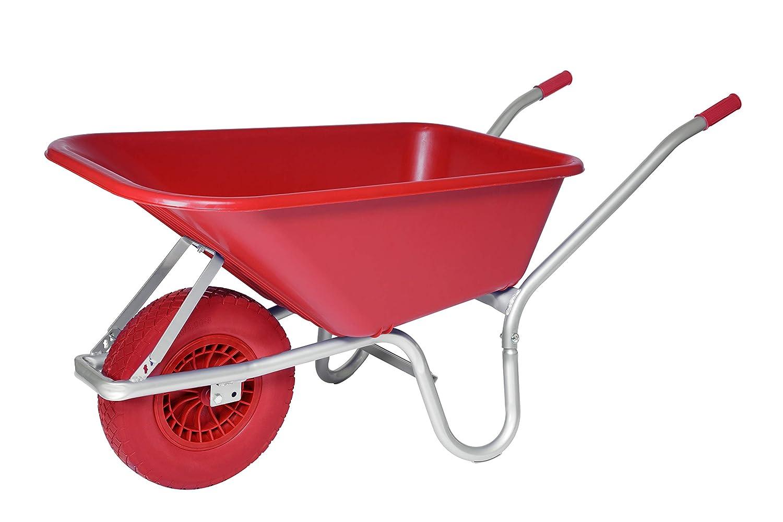 Red Heavy Duty Plastic 110L Equestrian Garden Outdoor Wheelbarrow Puncture Proof Tyre