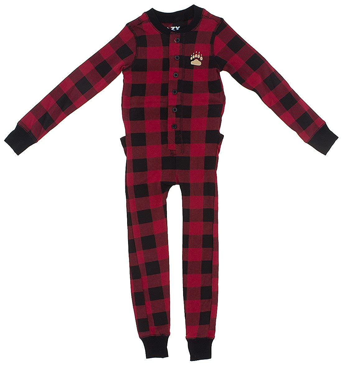 Lazy One Red Check Cotton Union Suit for Big Boys' KFJ1263T