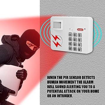 Zerone 105DB Contraseña inalámbrica Home seguridad emergencia teclado alarma sirena, 105° alarma PIR sensor de movimiento Detectores de puerta ventana ...